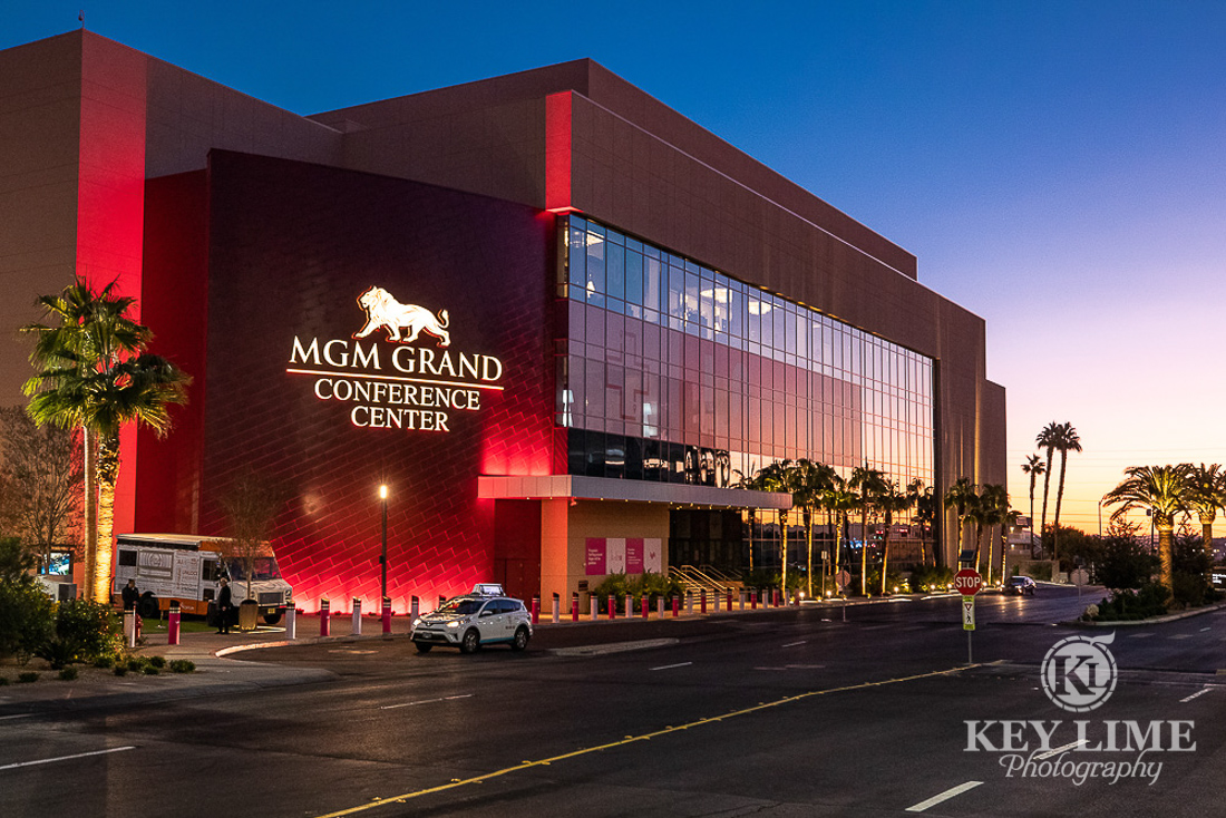 exterior photo of MGM Conference center at twilight. trade show photographer Key Lime Photography