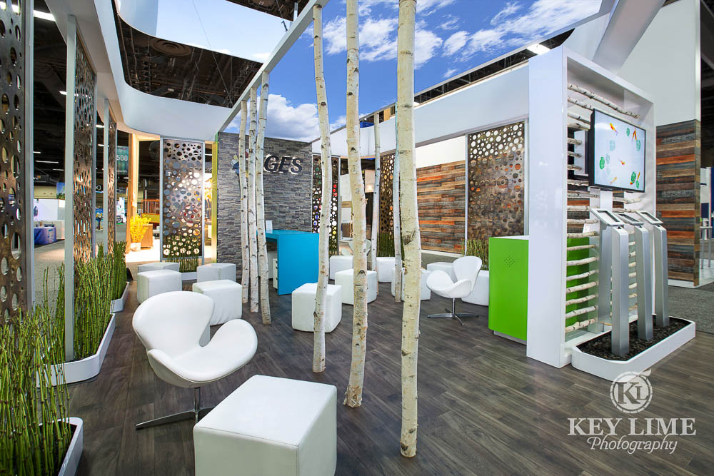 Las Vegas trade show photographer image of booth with relaxing design.