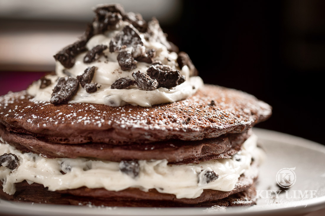 food photography of Cookies and Cream pancakes at Mr Lucky's at Hard Rock Hotel and Casino Las Vegas