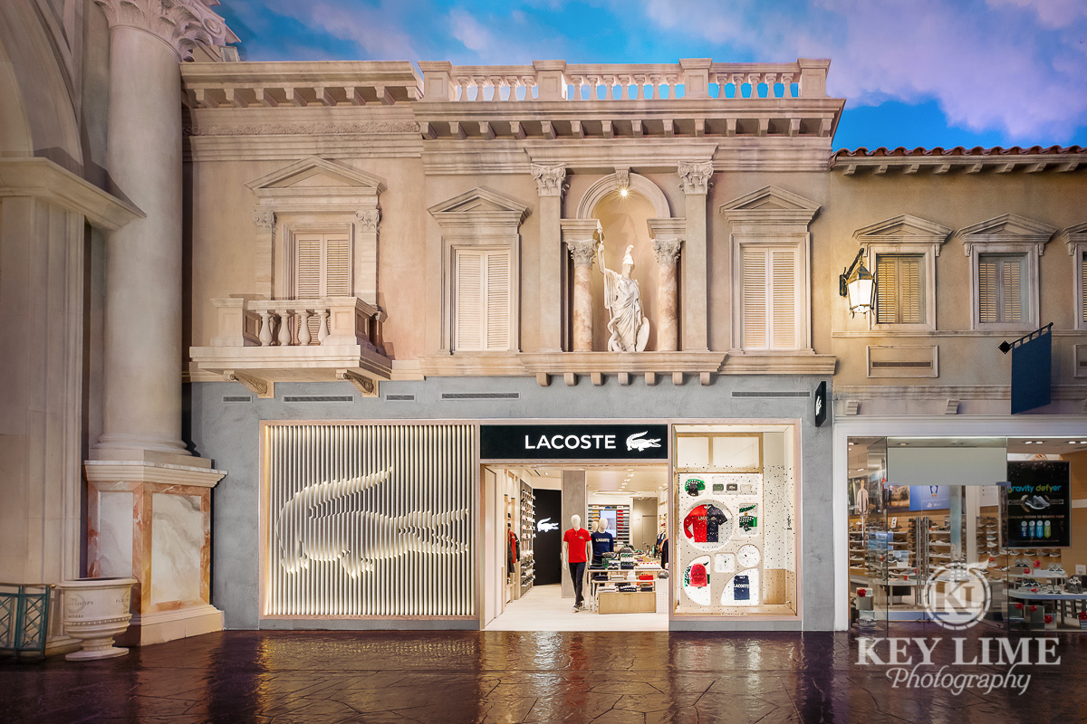 Retail space storefront. Architecture photographer captured the resort decor as well as the interior design of the store. 3D Alligator sculpted into the front.