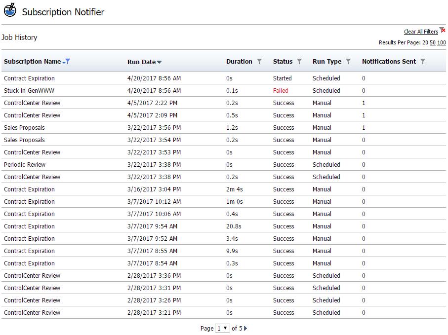 Job Run History Report Screenshot