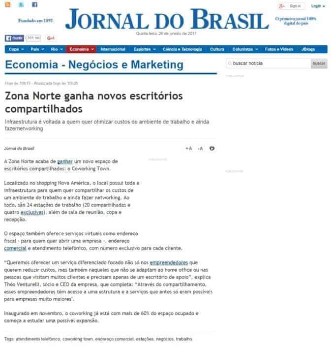 Matéria Sobre o Coworking Town no Jornal do Brasil