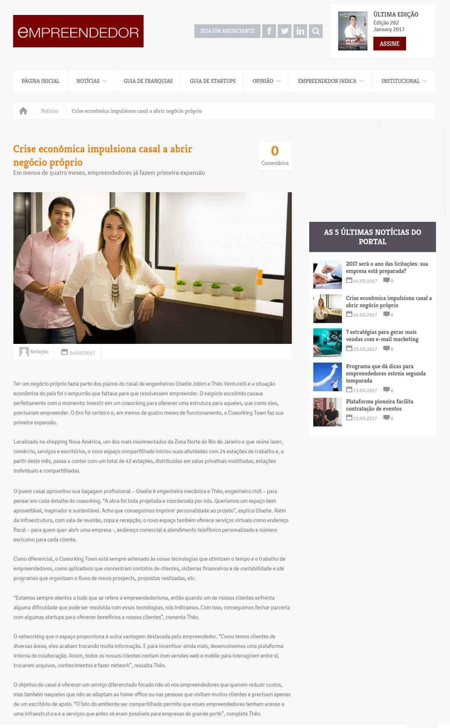 Matéria Sobre o Coworking Town na Revista Empreendedor