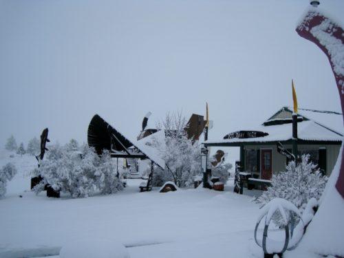 Heavy snow at Dog Bark Park