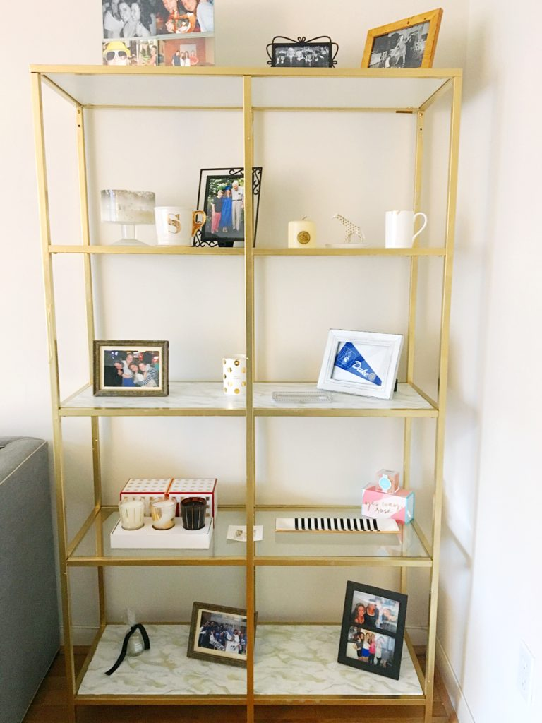 DIY Gold & Marble Bookcase