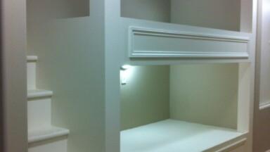 Kids bedroom remodel featuring built-in bunk beds