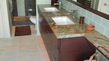 Bathroom remodel with custom dual-sink vanity