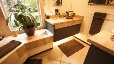 Custom bathroom design and build with undermount sink and concrete radiant floor