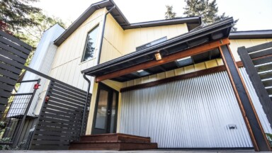 Exterior renovation of the entryway for a duplex in Eugene, OR