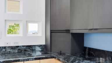 Kitchen design and build with custom niche windows