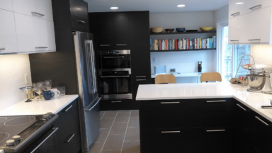 Portland, OR remodel features SEKTION kitchen cabinets with TINGSRYD slab doors and RINGHULT horizontal uppers