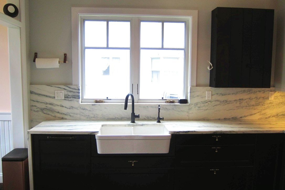 Kitchen renovation with apron-front sink