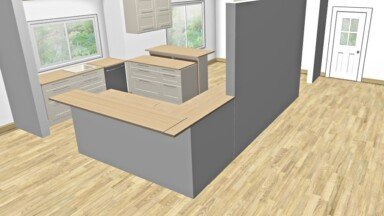 3D kitchen rendering of layout and design concept