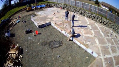 Drone view of the slab construction for the Hatfield Street spec home in Coburg