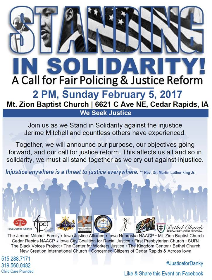 Image of event flyer Standing in Solidarity on February 5