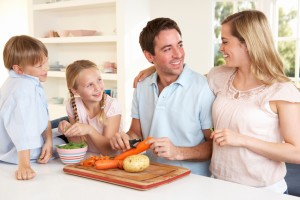 Spending time on healthy food preparation promotes good health, weight loss and family togetherness.