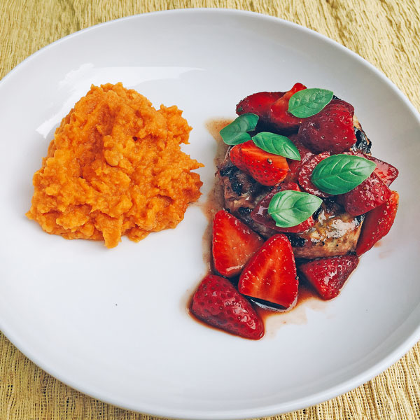 Grilled Pork Chops With Balsamic-Basil Strawberries And Whipped Sweet Potatoes