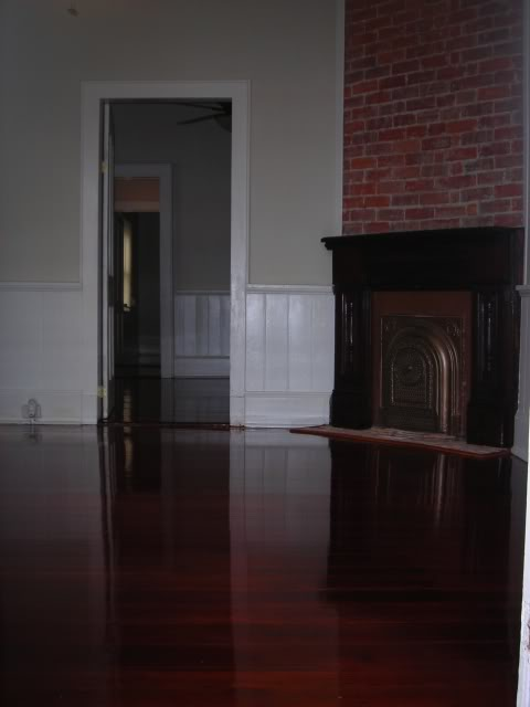pine flooring, stained, glossy