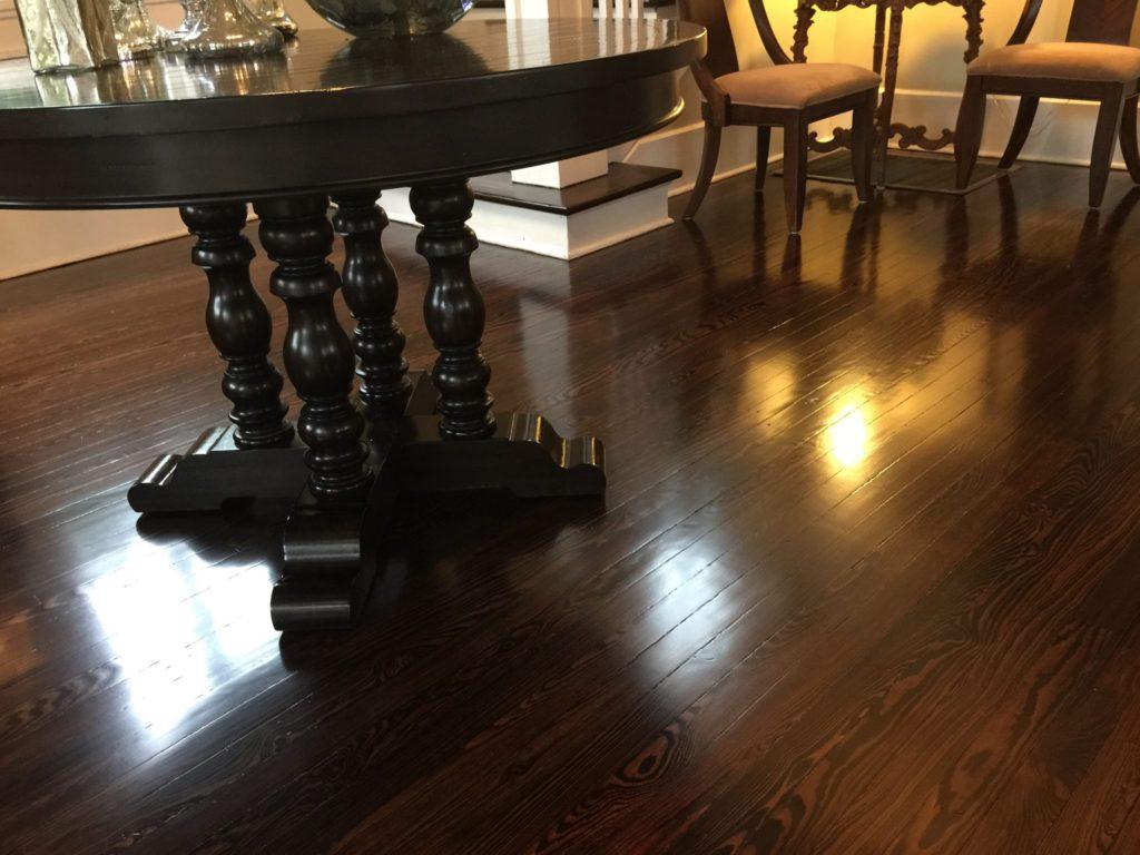 dark stain, hardwood flooring