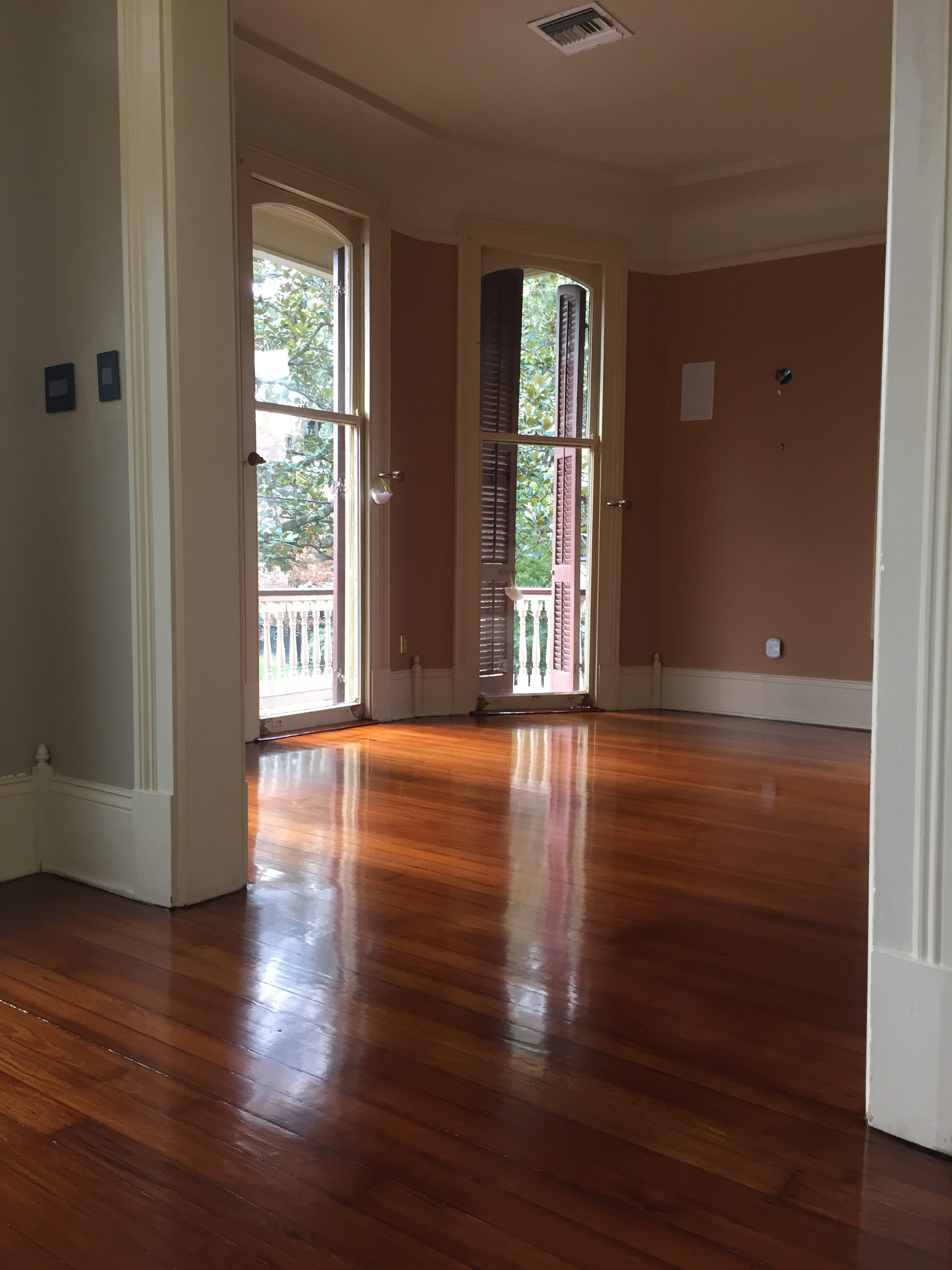 These refinished pine floors have a glossy finish.