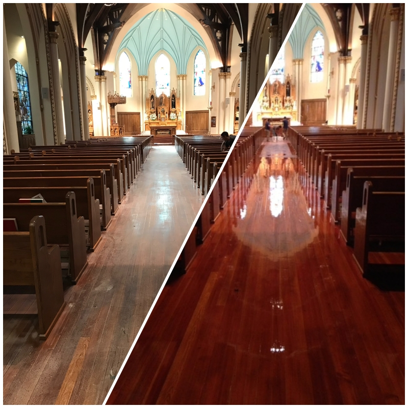 Photo of Screened and refinished hardwood flooring in a church with a glossy cherry appearance.