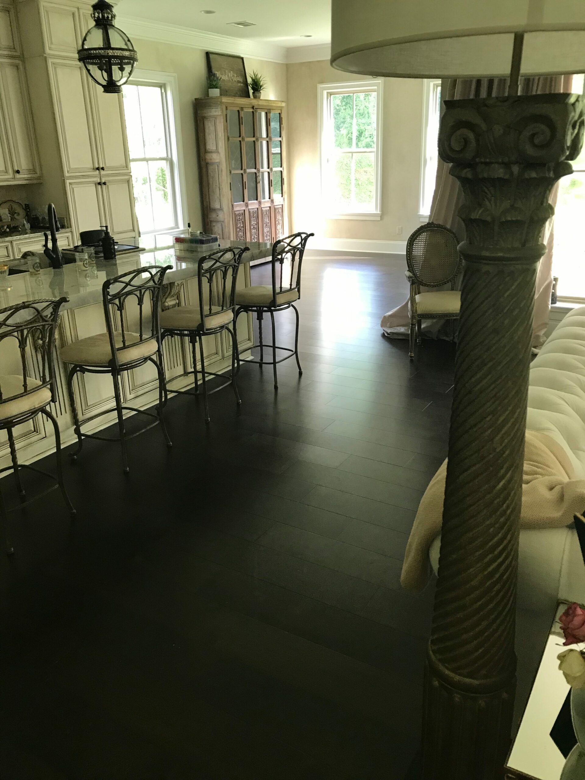 prefinished flooring, dark finish