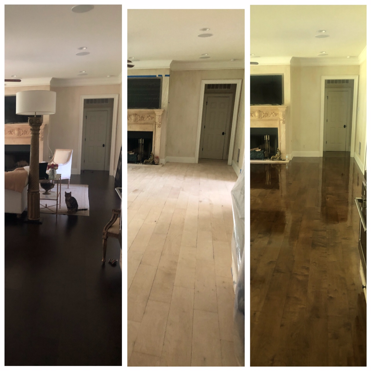 Photo of sanded prefinished flooring transforming from dark prefinished to a glossy medium brown refinished