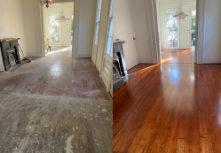 Old heart of pine before and after refinishing