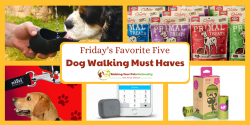 Check out today's five must haves for taking your dog for a walk. If you enjoy taking your dog for a walk, you won't want to miss these top five items. #raisingyourpetsnaturally