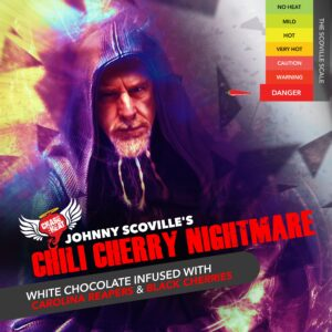 Johnny Scovilles Chili Cherry Nightmare White Chocolate