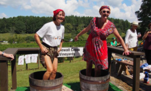 Grape stomping at winery event