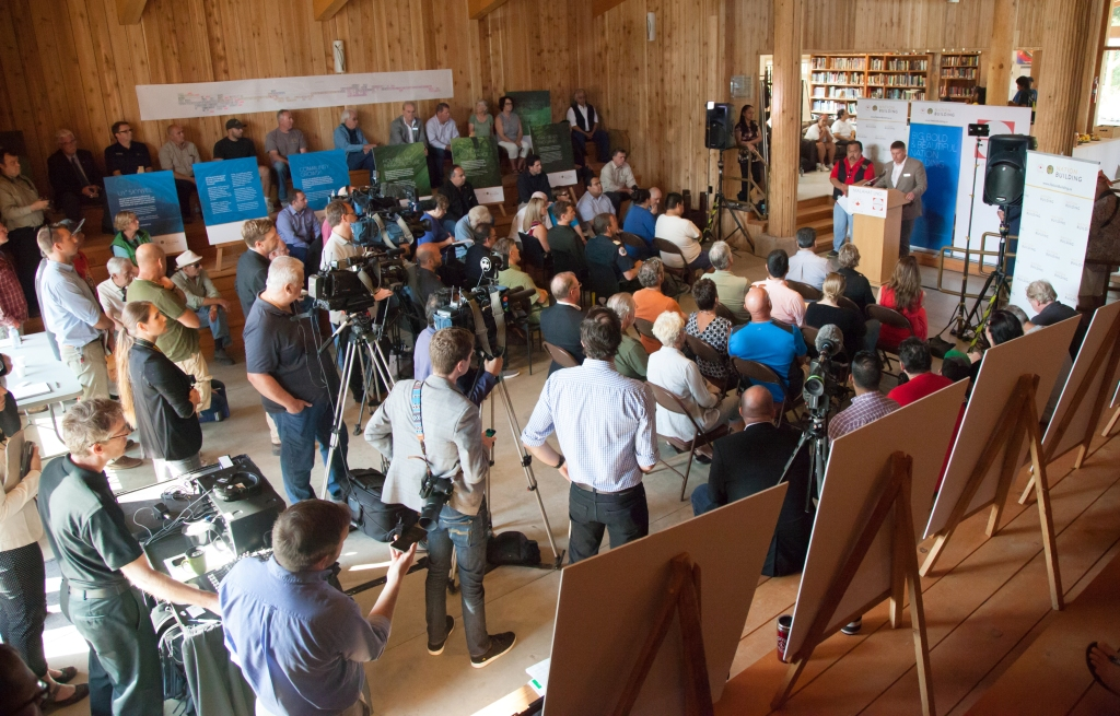 Announcement of Malahat LNG Project at Malahat Nation's Kwunew Kwasun Cultural Resource Centre on August 20, 2015. (Photo by Phil Ives)