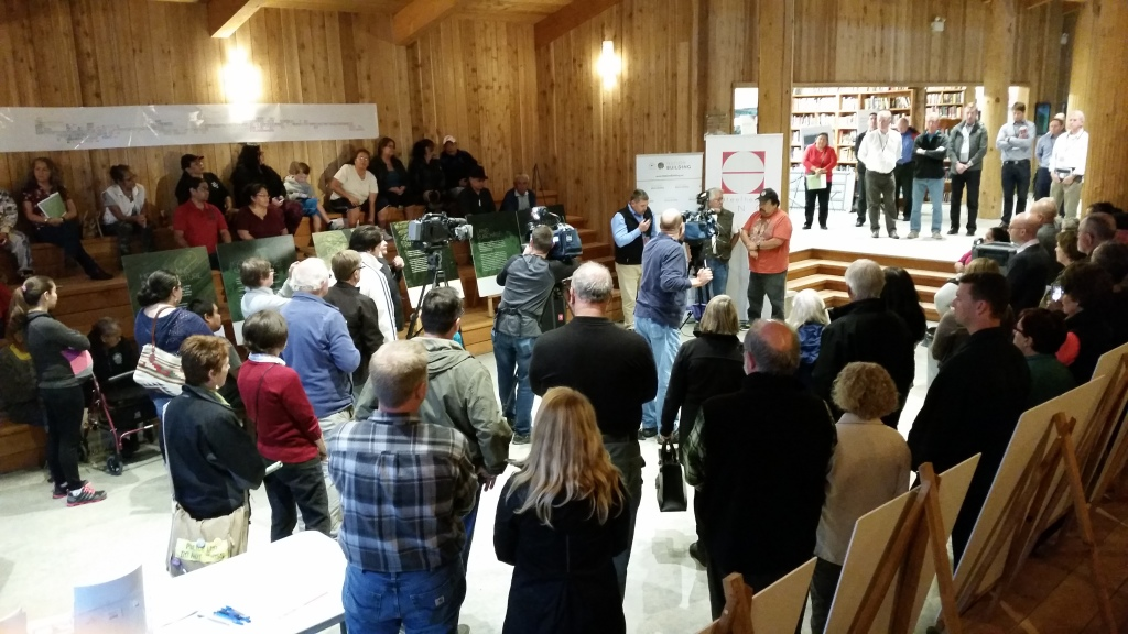 Interim Chief Tommy Harry address some of the 200 people that turned out for Malahat LNG's community open house on September 16, 2015.