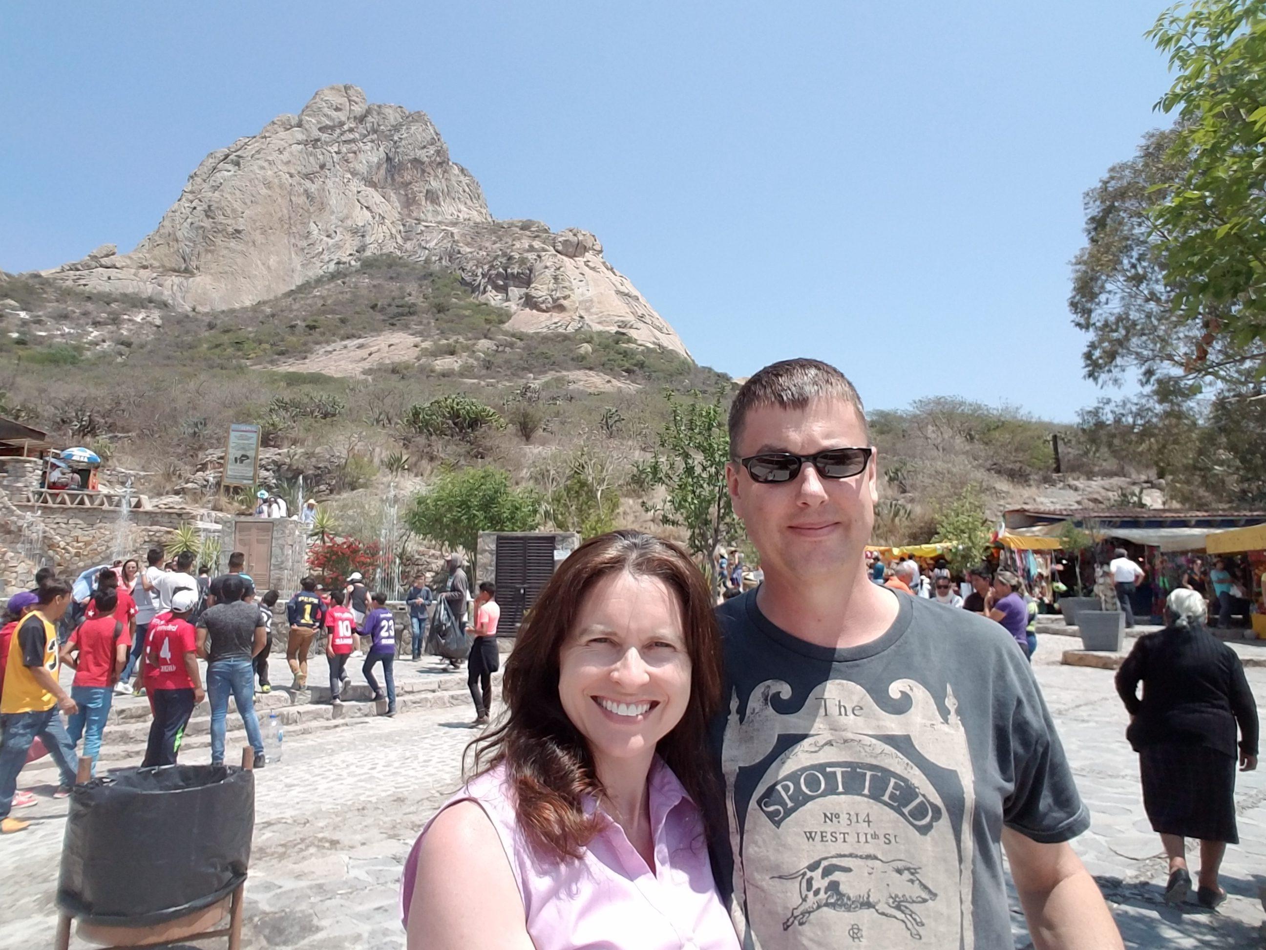 Tiffany and Tom at the base of Pena Bernal
