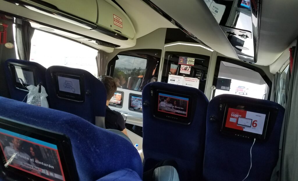 Movies, wifi, a reclining seat and USB charge port on bus travel through Mexico