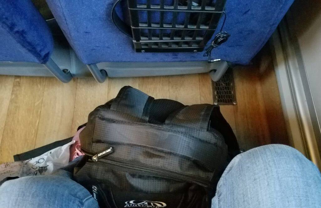 Plenty of leg room between seats when traveling by bus