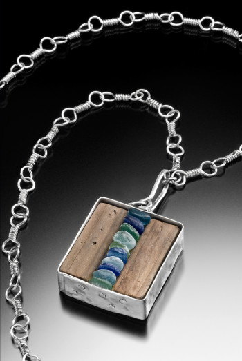 Stacked Glass and Wood Necklace