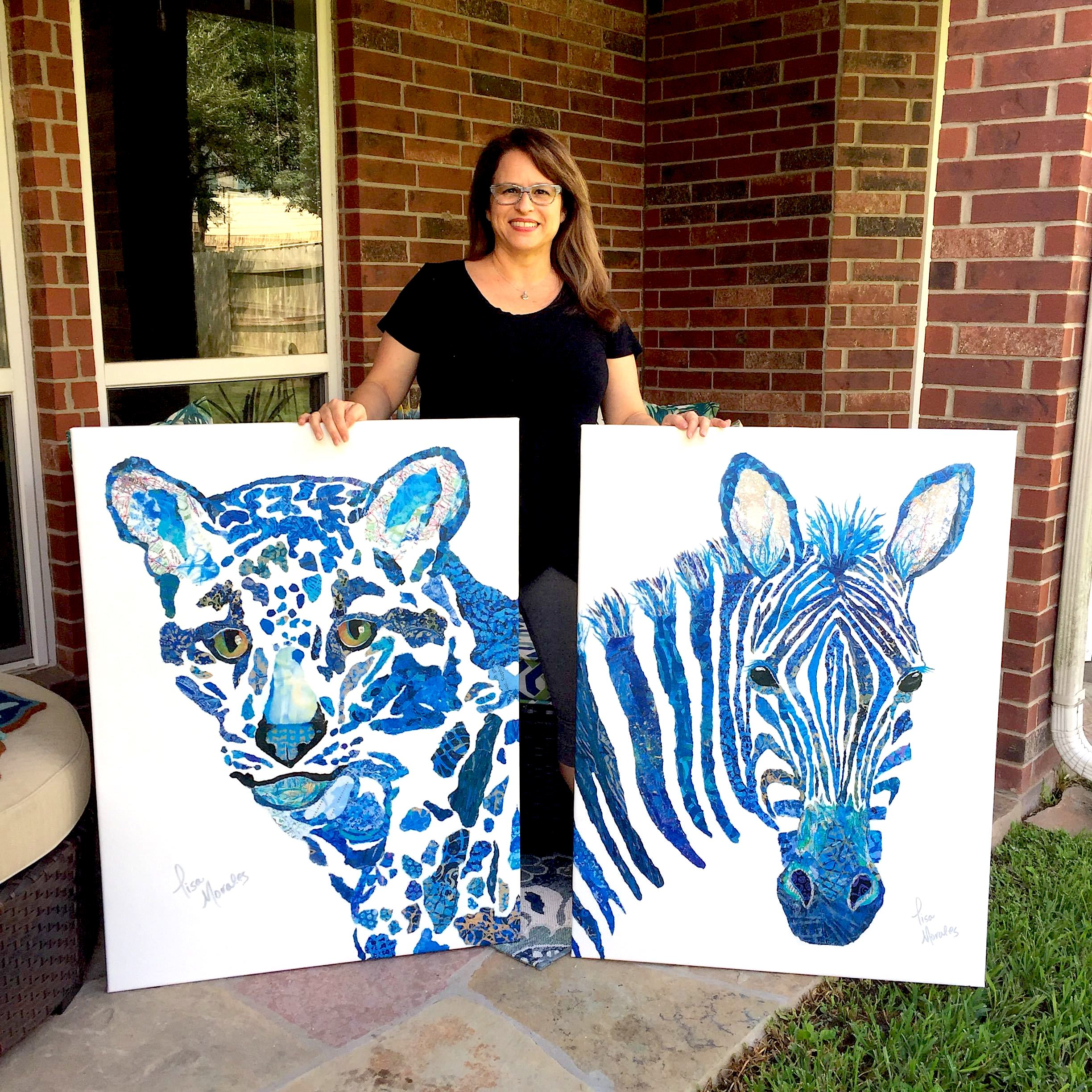 Collage art of a cheetah and zebra