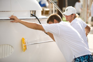 team washing boat