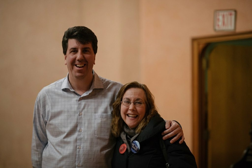 Joe Ciresi With A Supporter At The Way Forward Progressive Candidate Forum, Feb. 7, 2018.