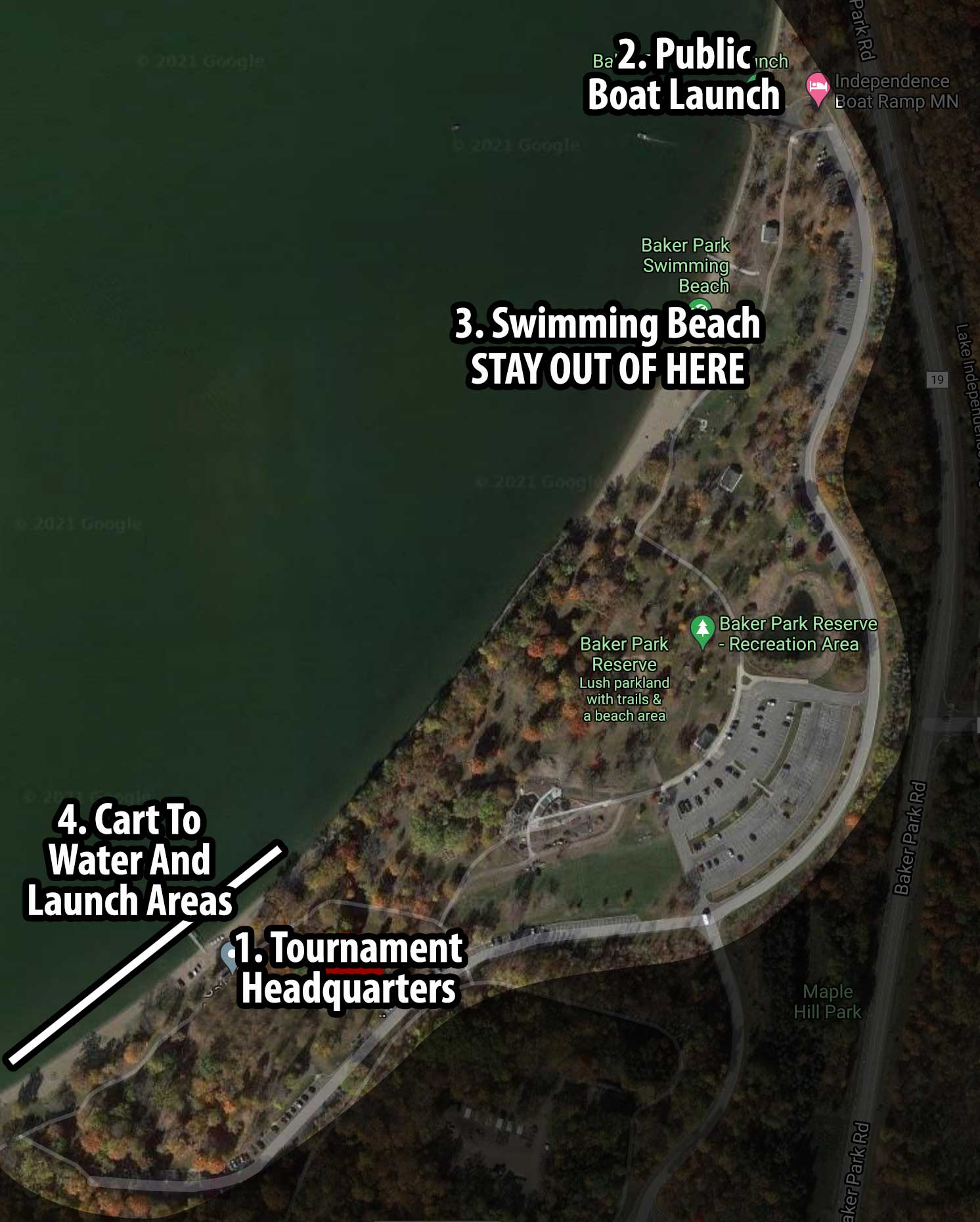 Lake Independence Launch Areas