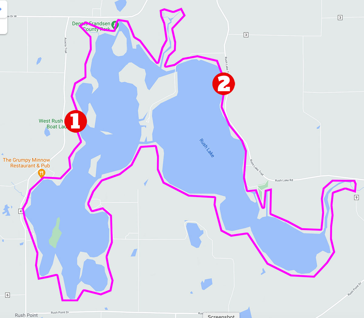 East And West Rush Lake Launch Points