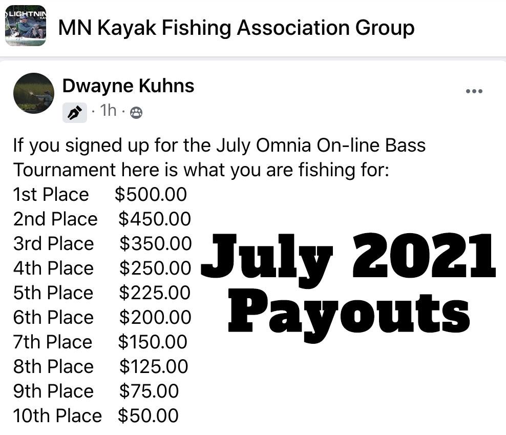 July 2021 Kayak Fishing Payouts