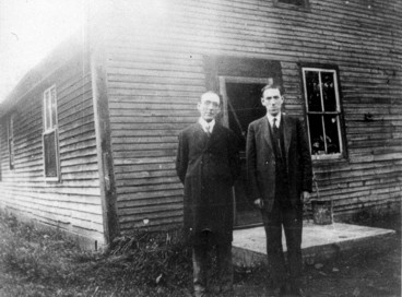 H.P. Lovecraft (right) and friend Arthur Goodenough outside the latter's home in 1927 on what is now Goodenough Rd. in West Brattleboro. Credit: H.P. Lovecraft Archive