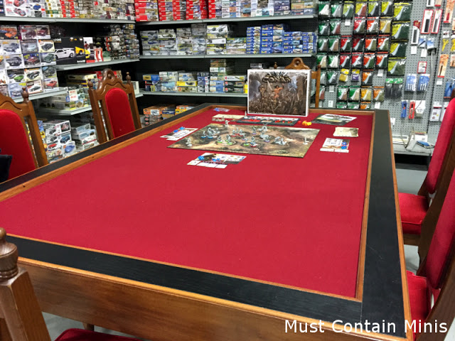 A board game and miniature wargaming table at Forbes Hobbies made by Claessens Carpentry and Renos.