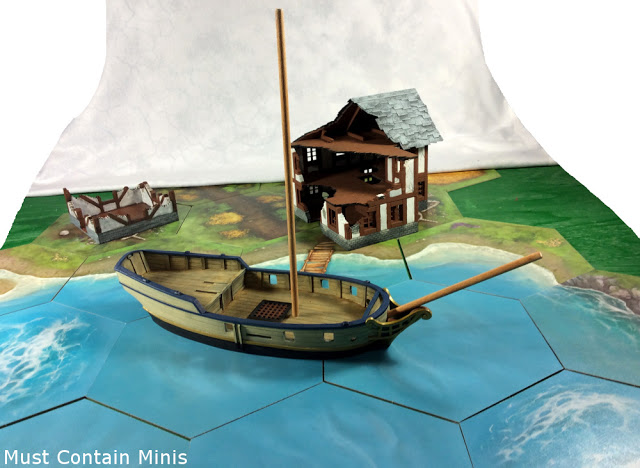 Blood and Plunder Sloop on TerraTiles with MDF (XOLK) Ruins in the background.