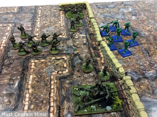 Demonstrating the gaming mat with 3d terrain