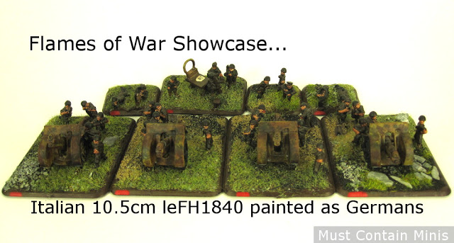 Read more about the article Flames of War Showcase: Italian 10.5cm leFH1840 Artillery Guns painted as Germans