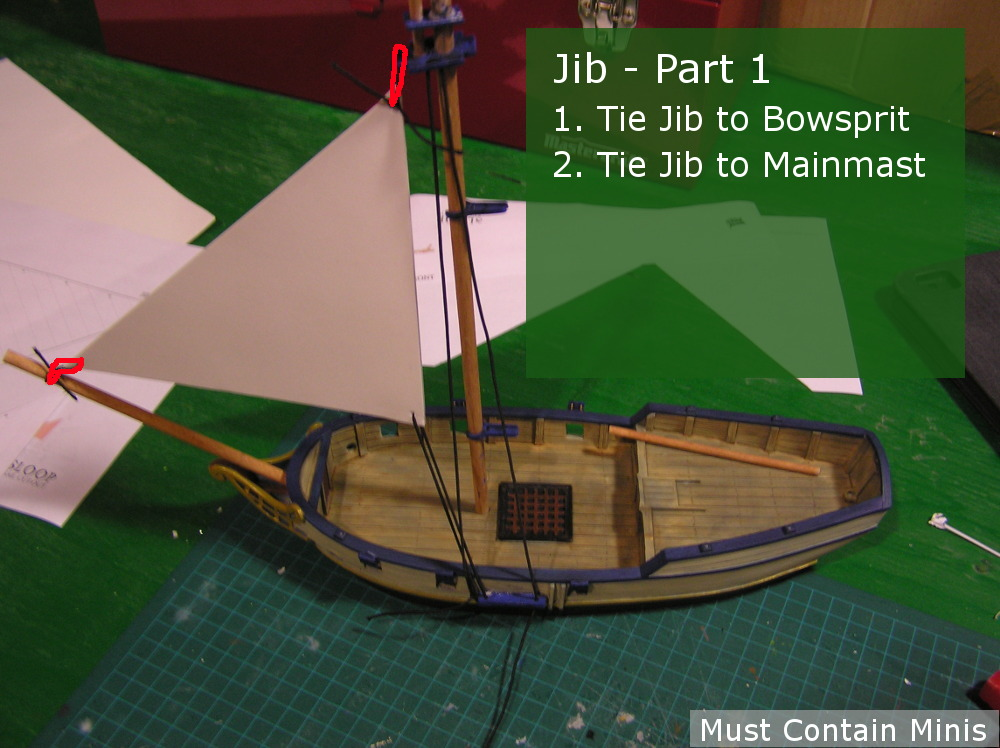Rigging the Blood and Plunder Jib Sail for their Sloop