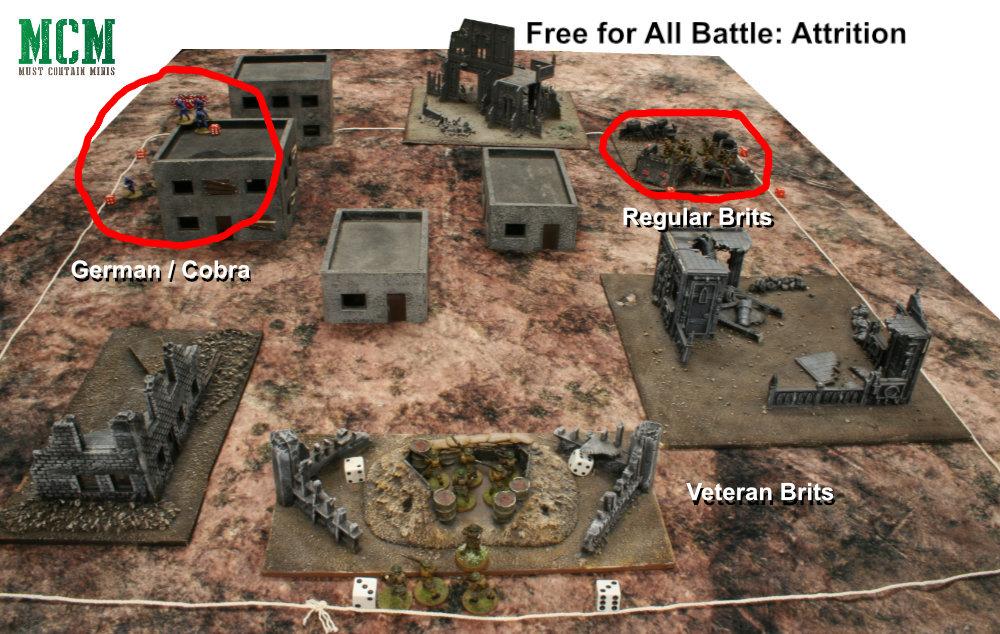 Free for all attrition Bolt Action Battle Report - British vs German vs British
